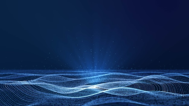 Dynamische kreisgitterpartikelwelle, die im blauen cyberspace mit volumetrischem scheinwerfer fließt, abstrakter schöner futuristischer datentechnologie-bewegungshintergrund mit kopienraum für das hinzufügen von logo oder textdesign