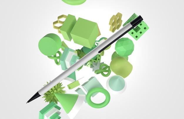 Dynamischer 3d-stylo, umgeben von geometrischen formen