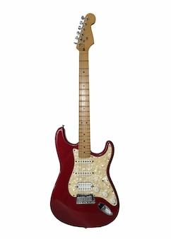 E-gitarre isoliert auf weißem hintergrund zwei singende singlecoil-hals und mittlere pickups