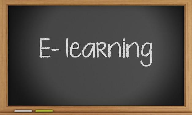 E-learning auf tafel geschrieben.
