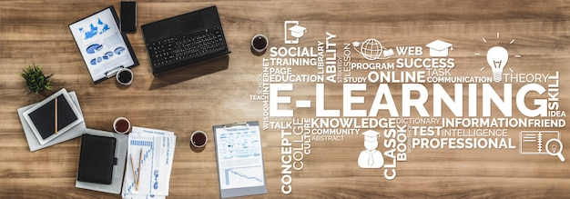 E-learning für studenten- und universitätskonzept
