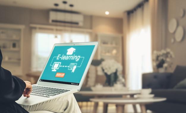 E-learning und online-bildung für studenten- und universitätskonzept.