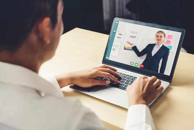 E-learning und online-business-präsentation-meeting-konzept.