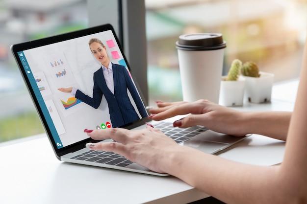 E-learning- und online-business-präsentationstreffen