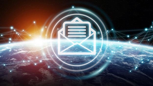 E-mail-austausch auf dem planeten erde 3d-rendering