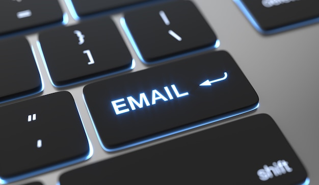 E-mail-text auf der tastaturtaste.