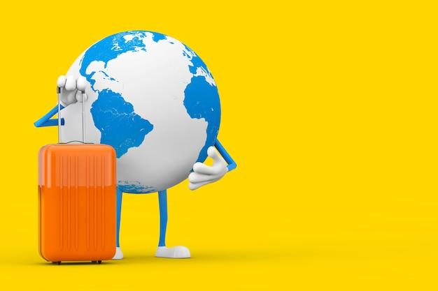 Earth globe character maskottchen mit orange reisekoffer auf gelbem hintergrund. 3d-rendering