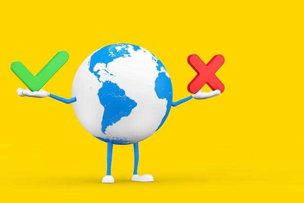 Earth globe character maskottchen mit rotem kreuz und grünem häkchen, bestätigen oder verweigern, ja oder nein symbolzeichen auf gelbem hintergrund. 3d-rendering