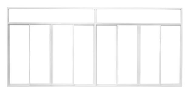 Echter moderner hausfensterrahmen lokalisiert auf weißem hintergrund