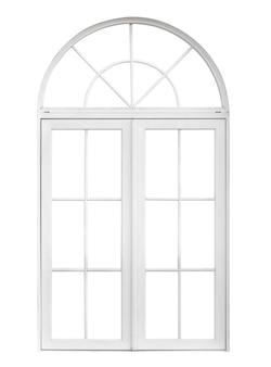 Echter weinlesehausfensterrahmen lokalisiert auf weißem hintergrund