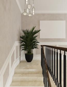 Eckbereich der wohninnenarchitektur mit pflanzgefäß und modellplakat