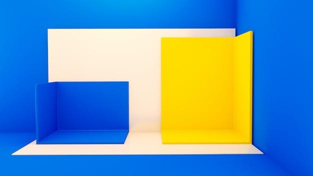 Eckbühne mit quadratischen geometrischen formen auf blauer oberfläche