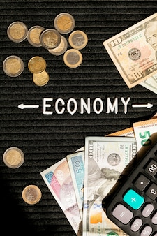 Economy banknoten und münzen