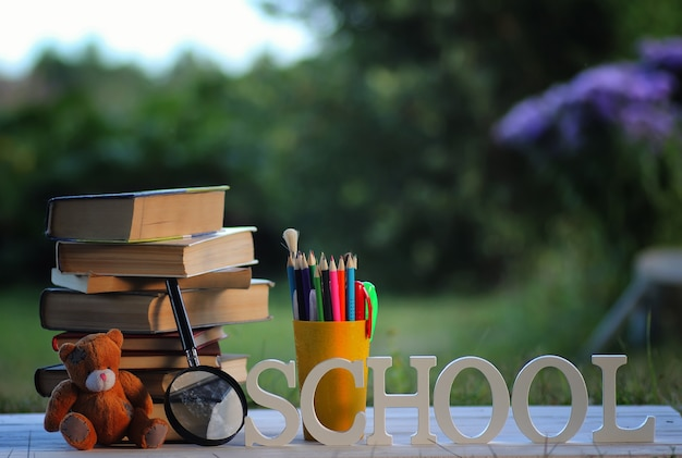 Educaion back schule buchstapelseite im freien