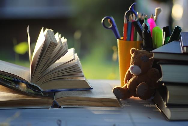 Educaion rückenschule buchstapelseite im freien