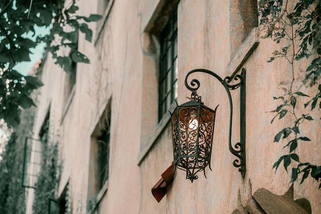 Efeu an der wand des hauses. herbstlaubefeu auf den weinlesefenstern.