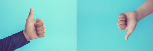 Effekt-ergebnis-konzepte mit zwei händen, die daumen hoch zeigen, mögen und nicht mögen