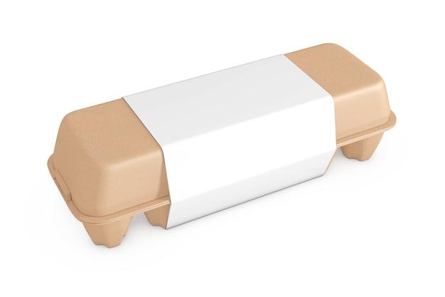 Egg brown karton mit leerem etikett mit freiem platz für ihr design auf weißem hintergrund. 3d-rendering