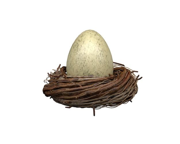 Ei in einem nest auf einer weißen wand