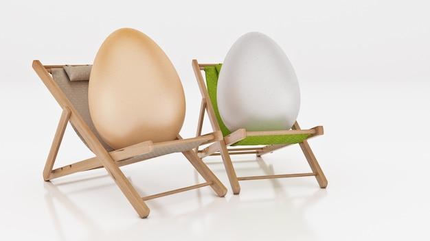 Ei mit legen auf sommerstrandstuhl abstrakten hintergrund für osterferienkonzept