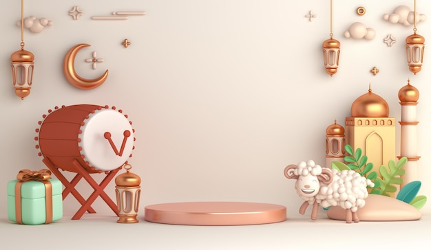 Eid al adha islamische dekoration display podium hintergrund mit schaf halbmond bedug trommellaterne