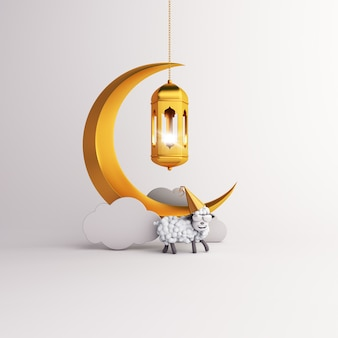 Eid al adha mubarak hintergrund mit laternenhalbmond und schafen