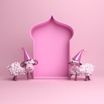 Eid al adha mubarak hintergrund mit schafen
