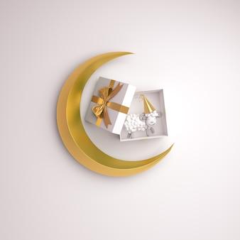 Eid al adha mubarak hintergrund mit schafhalbmond geschenkbox