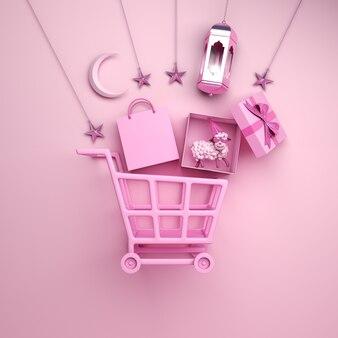 Eid al adha verkauf hintergrund mit trolley cart laterne schaf