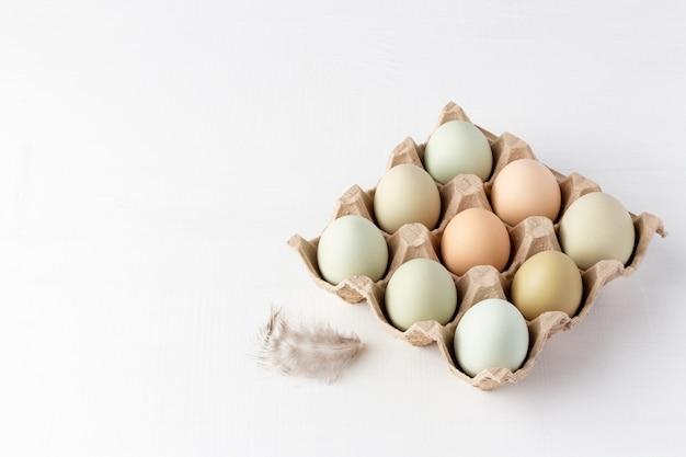 Eier aus biologischem anbau in pappverpackung und feder auf weiß