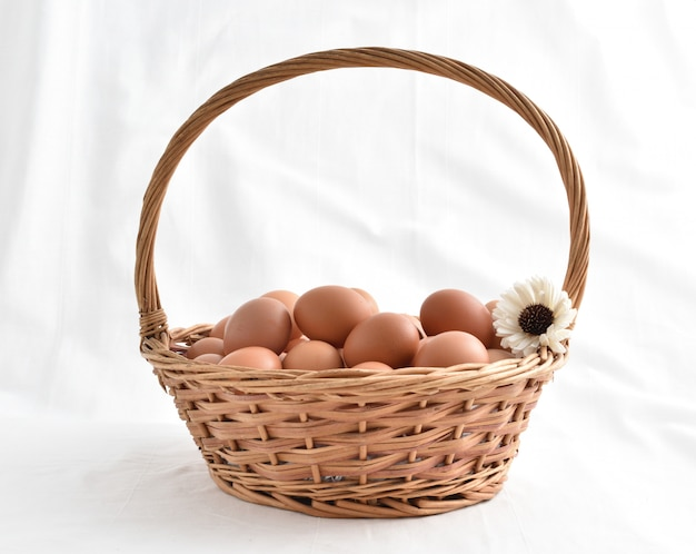Eier im korb füllten lokalisiert auf weißem hintergrund