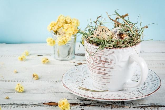 Eier in einem nest in einer alten kaffeetasse