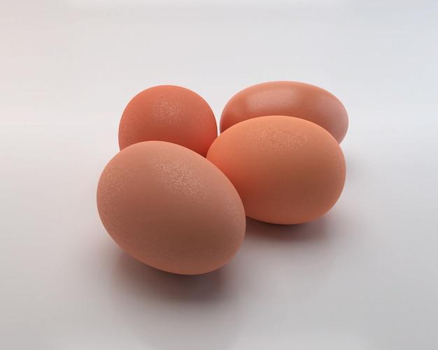 Eier lokalisiert auf weißem hintergrund