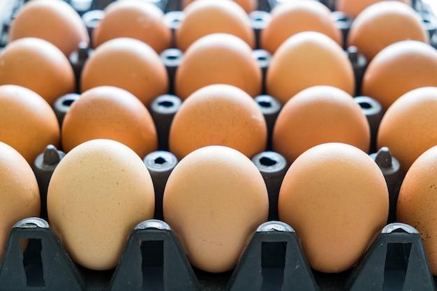 Eierablage aus schwarzem kunststoffstapel