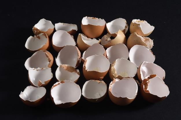 Eierschalen in reihe auf schwarzem hintergrund