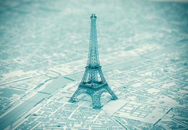 Eiffelturm auf der karte von paris extreme nahaufnahme