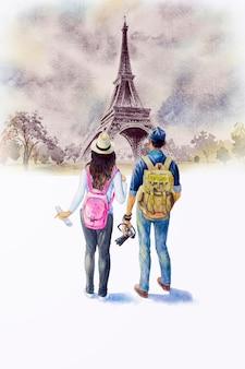 Eiffelturm und touristen