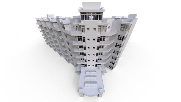 Eigentumswohnungsmodell in der weißen farbe mit transparenten gläsern. mehrfamilienhaus mit innenhof. 3d-rendering.