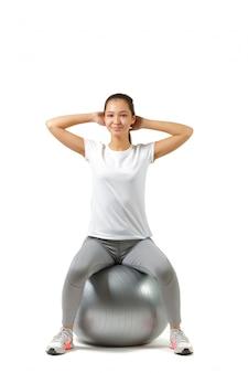 Eignungsfrau und pilates ball