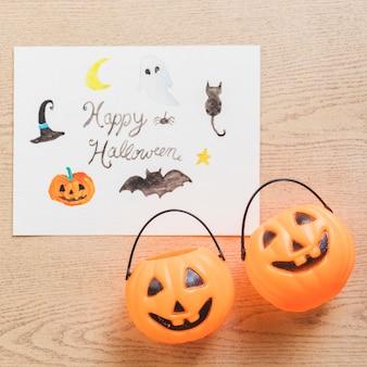 Eimer in der nähe von halloween-zeichnung Kostenlose Fotos