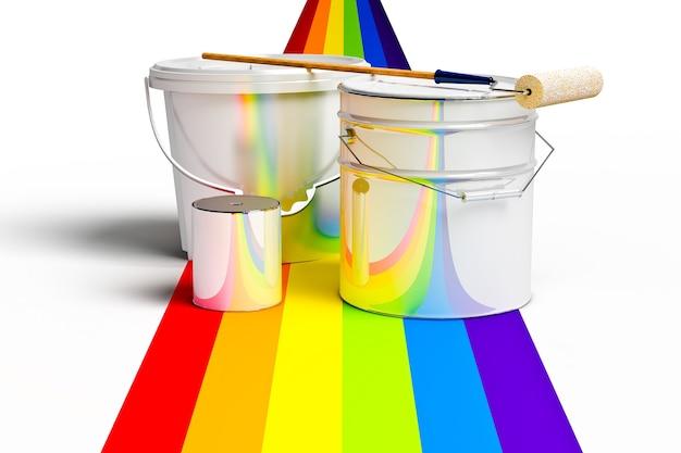 Eimer mit farbroller und regenbogenfarben auf weißem hintergrund
