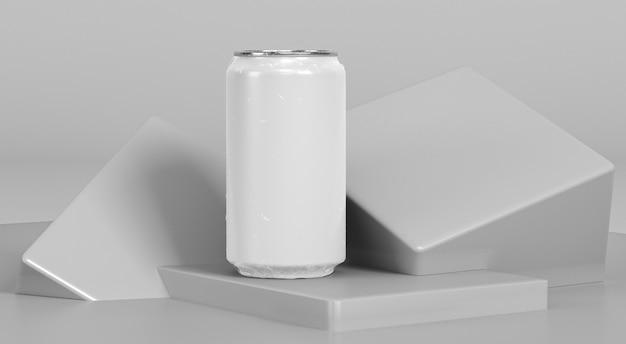 Ein abstrakter aluminiumbehälter für die getränkepräsentation
