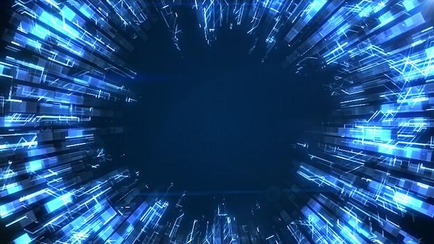 Ein abstrakter glatter blauer leuchtender kreis wächst und dämpft