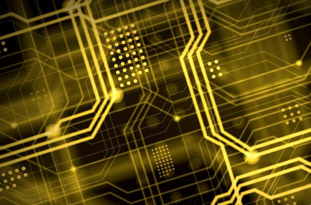 Ein abstrakter technologischer hintergrund, der aus einer vielzahl leuchtender richtlinien besteht