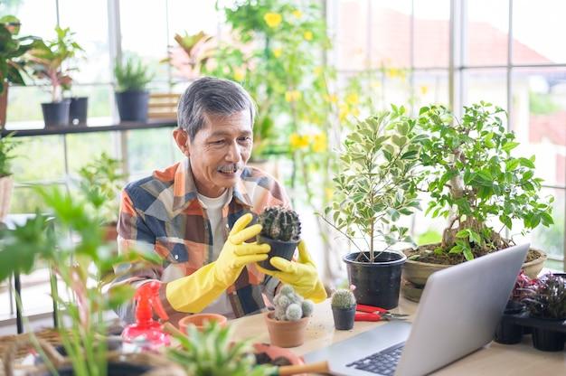 Ein älterer unternehmer, der mit laptop arbeitet, präsentiert zimmerpflanzen während des online-live-streams zu hause und verkauft online-konzept