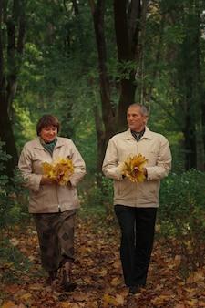 Ein älteres rentnerpaar geht in einen herbstpark, sammelt blätter und lacht.