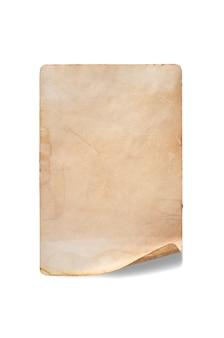 Ein altes zerknittertes stück papier. speicherplatz kopieren. auf weiß isoliert.