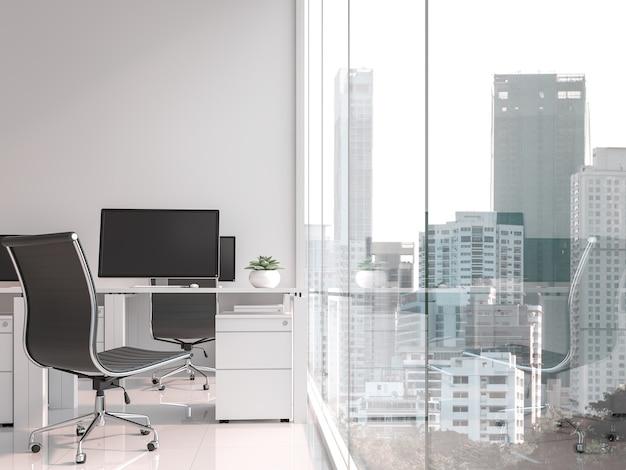 Ein arbeitstisch am fenster 3d-rendering große fenster blicken auf die stadtansicht Premium Fotos