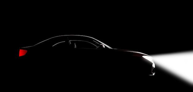 Ein auto in einem schwarzen studio mit lichtern