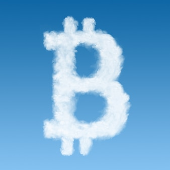 Ein bitcoin-symbol aus einer cloud, new virtual money-konzept.